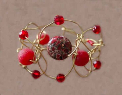 Red Wire Wrapped & Vintage Bead Cuff Bracelet - Adjustable