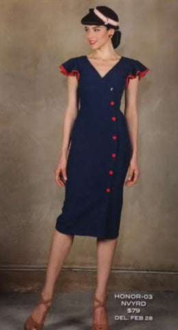 Stop Staring HONOR,, Navy w Red Wiggle Dress, Spring/Summer 2016, HONOR-03 NVYRD