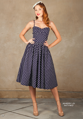 Stop Staring Vintage Amery Dress - Spring/Summer 2016 - AMERY-01 NVYWD- Navy Polka Dot Swing Dress