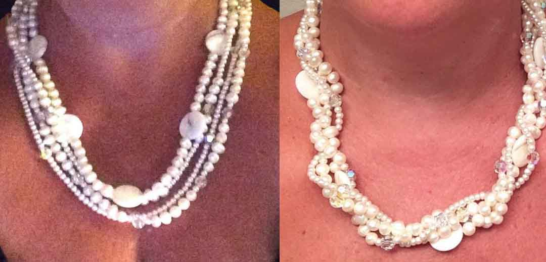 Triple Strand Versatile Fresh Water Pearl and Mother of Pearl Necklace