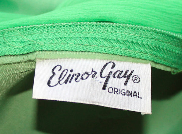 Vintage Elinor Gay Great Gatsby Green Chiffon Drop Waist Dress w Pink
