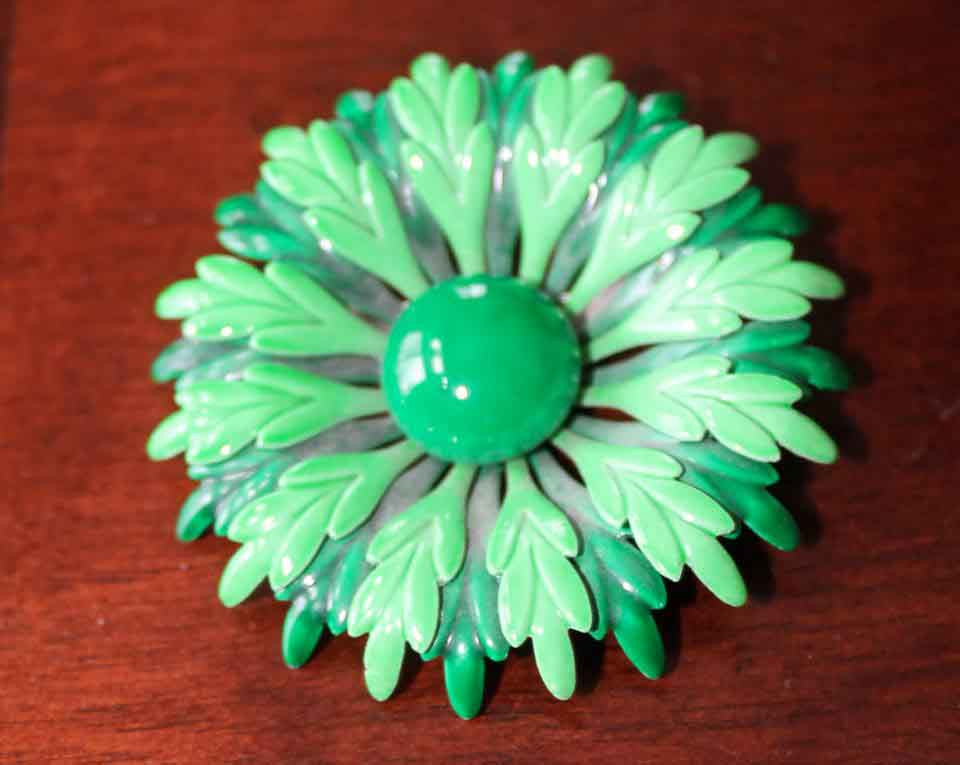 Vintage Green Enamel Flower Brooch