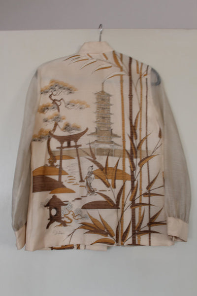 Vintage Alfred Shaheen Asian Pagoda Print Blouse -  size M/L