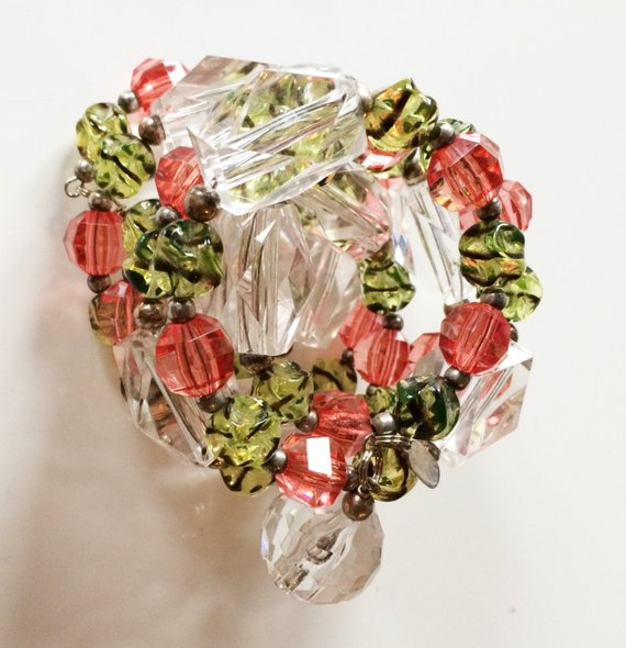 ONE SIZE Lucite multi strand bracelet made from vintage lucite beads, green, orange, clear