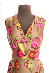 Vintage Mocha Maxi Dress with Multi Floral Print - size 6