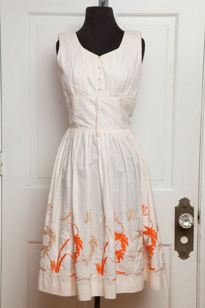 Vintage Art Deco Palm Beach Cream Swing Dress with Orange Embroidery - size 4/6