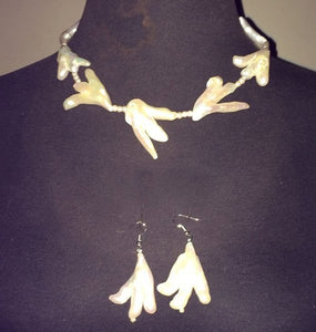 Handmade Ivory Fresh Water Pearl Abstract Necklace and Earring Set