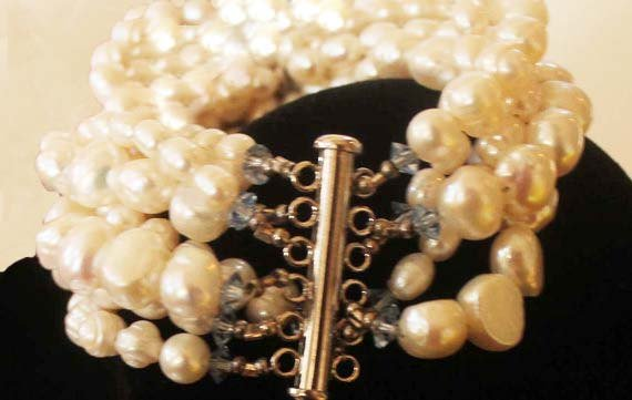 Multistrand Fresh Water Pearl and Vintage Blue Rhinestone Bracelet