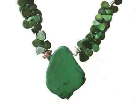 Green Malacite Abstract Necklace and Earrings