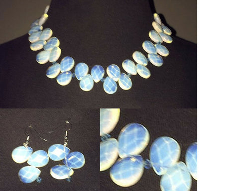 Irredecent faux crystals necklace and earring set
