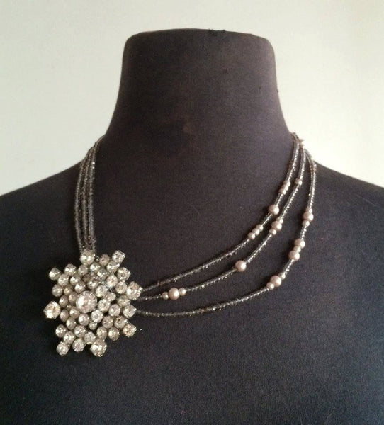 Vintage Rhinestone Pendent and pearl multistrand formal necklace