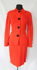 Vintage Mike Korwin Tomato Red Knit Jacket and Skirt  - size 8