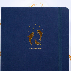 Reach for the Stars - A5 Dot Grid 160 GSM, 192 pages Notebook by Alon Notebooks (Blue)