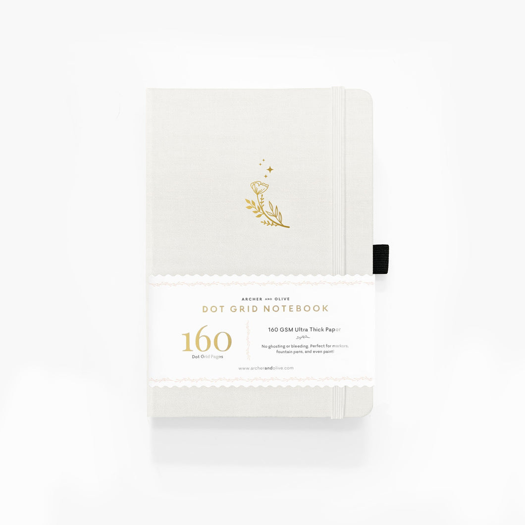 160 pages Moon Flowers Dot Grid Journal by Archer & Olive
