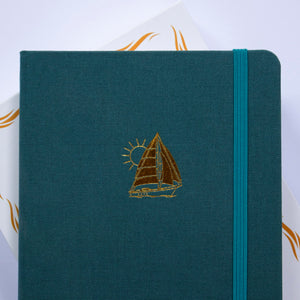 Sailboat (Smooth Sailing Series) - A5 Dot Grid 160 GSM, 192 pages Notebook by Alon Notebooks (Blue Green)