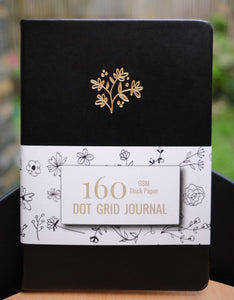 160 gsm Buke Notebook Bullet Journal - Black Leaves