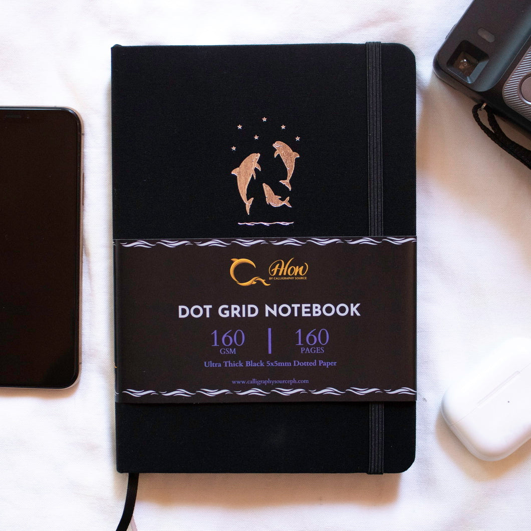Reach for the Stars - A5 Dot Grid 160 GSM, 160 BLACK pages Notebook by Alon Notebooks (Black)
