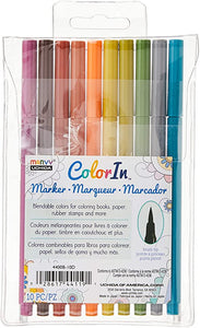 Marvy Uchida, ColorIn, 10 Piece, Brush Tip Marker Set