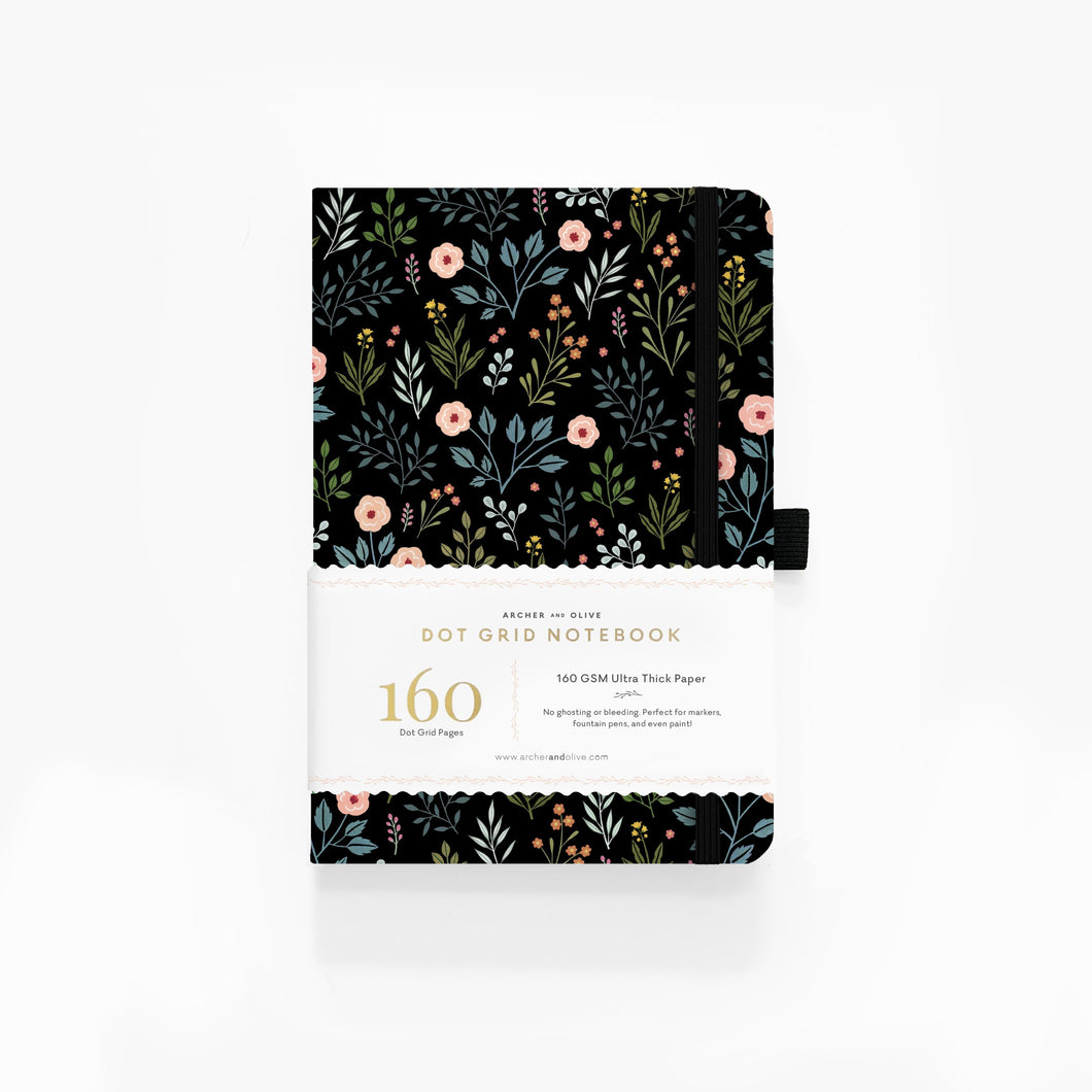 160 pages Night Garden Dot-Grid Notebook by Archer and Olive