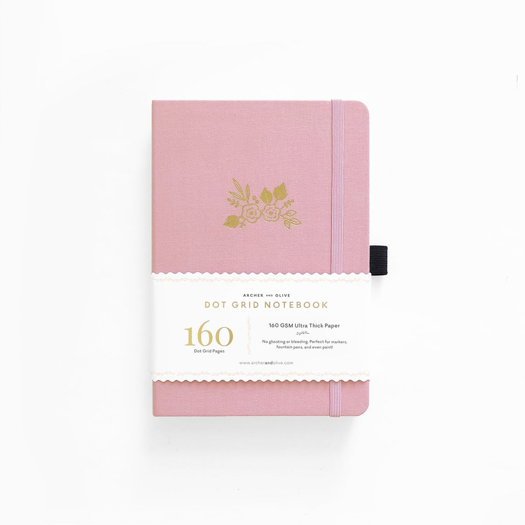 192 pages Light Pink Dot-Grid Notebook by Archer & Olive