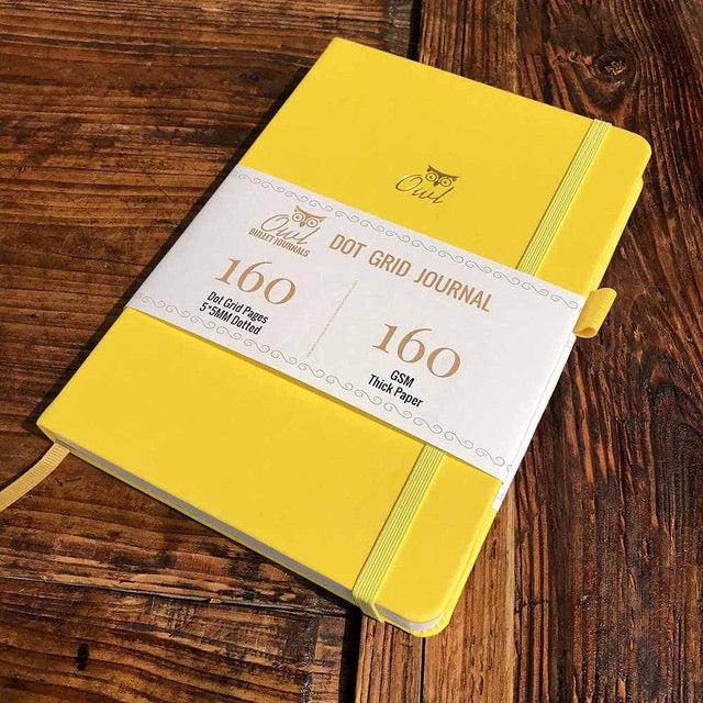 160 gsm Buke Notebook Bullet Journal - Yellow Owl