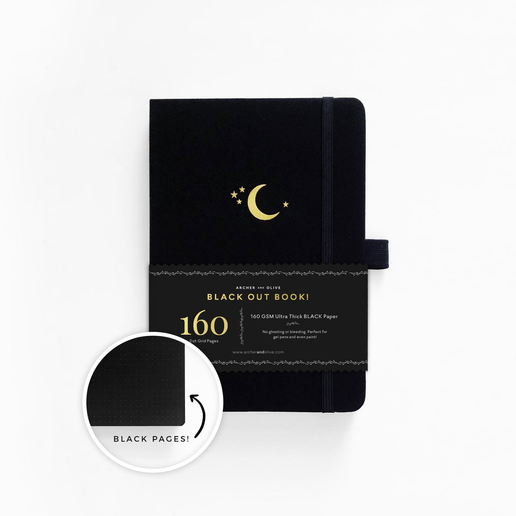 160 pages Crescent Moon Blackout Dot grid Notebook By Archer & Olive