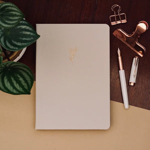 New 180 GSM Dot-Grid Journal by Buke Notebooks - Ecru Wheat Flowers