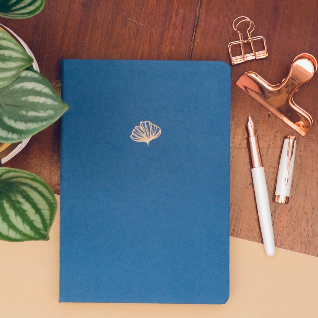 New 180 GSM Dot-Grid Journal by Buke Notebooks - Denim Blue Gingko