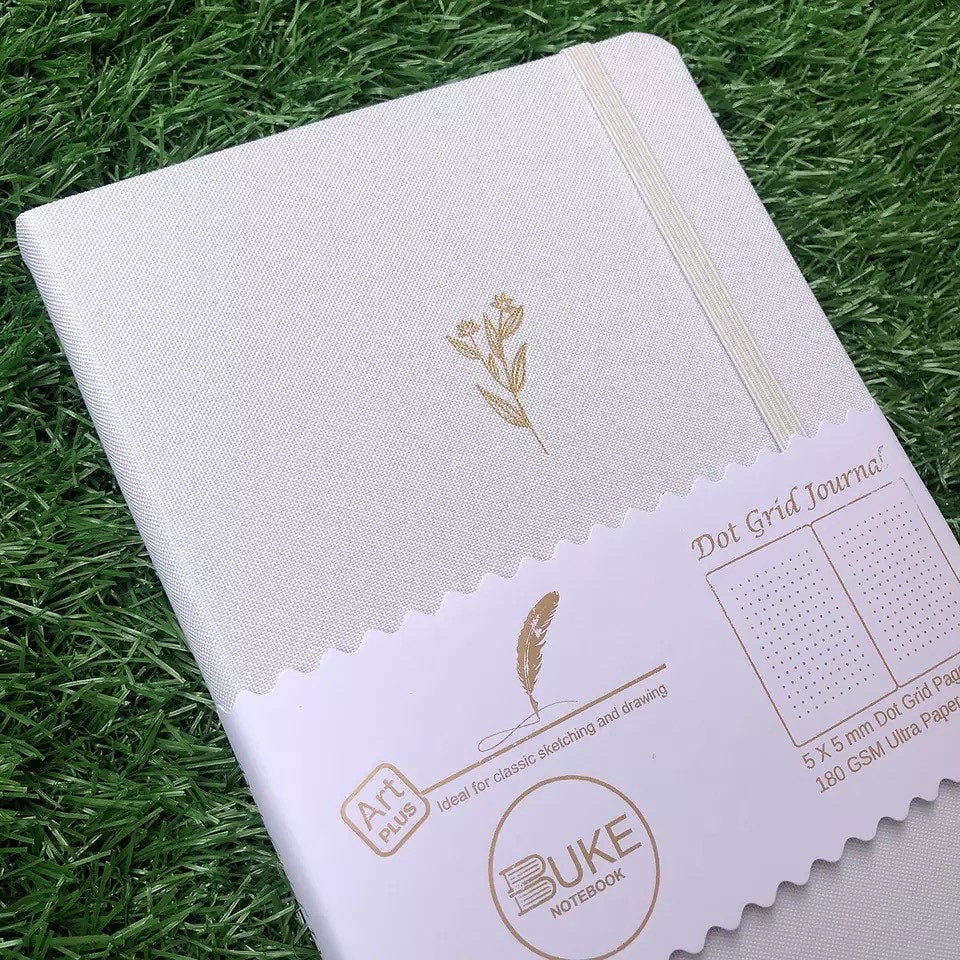 New 180 GSM Dot-Grid Journal by Buke Notebooks - White Wheat Flowers