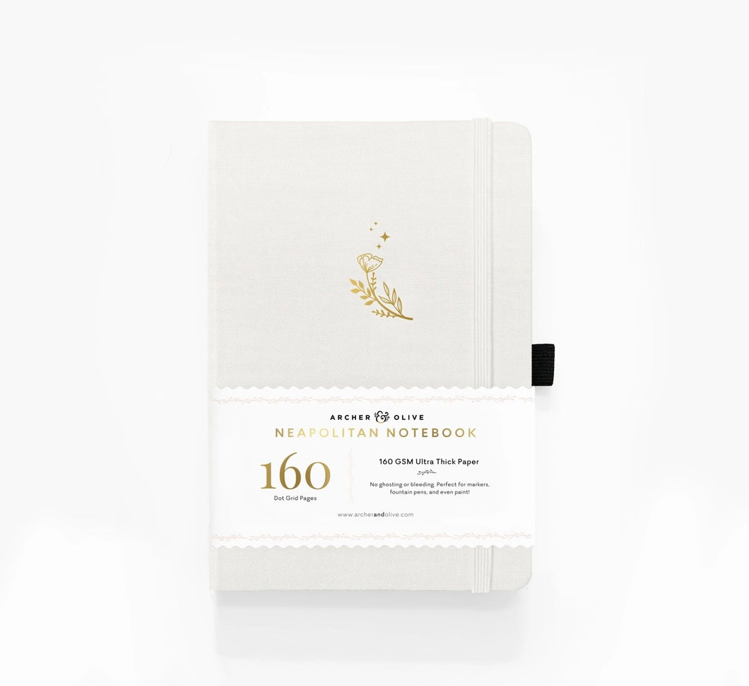 160 pages Moon Flowers Neapolitan Dot Grid Notebook by Archer & Olive
