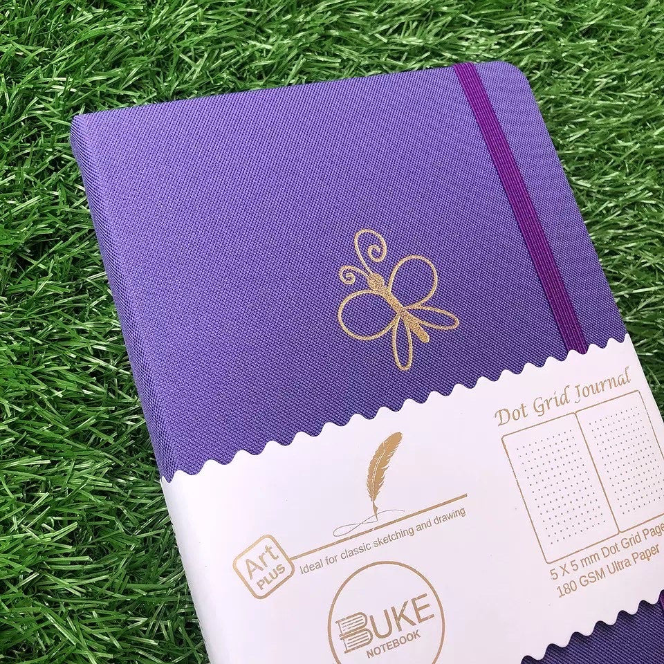 New 180 GSM Dot-Grid Journal by Buke Notebooks - Purple Butterfly