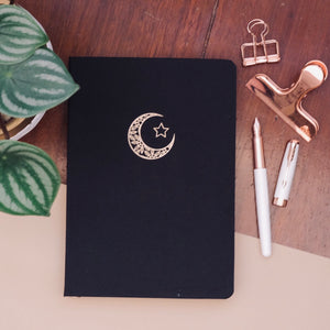 New 180 GSM Dot-Grid Journal by Buke Notebooks - Black Moon and Star