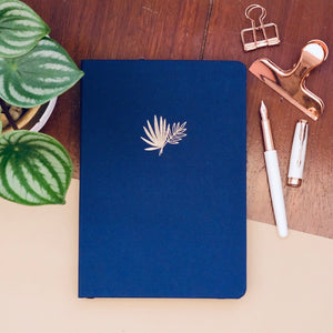 New 180 GSM Dot-Grid Journal by Buke Notebooks - Navy Blue Palms