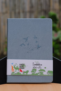160 GSM Buke Notebook Bullet Journal - Bluish Gray Birds