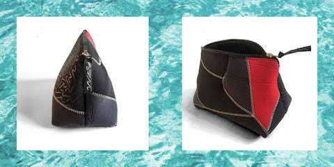 Neoprene pouches custom upcycled from a personal wetsuit