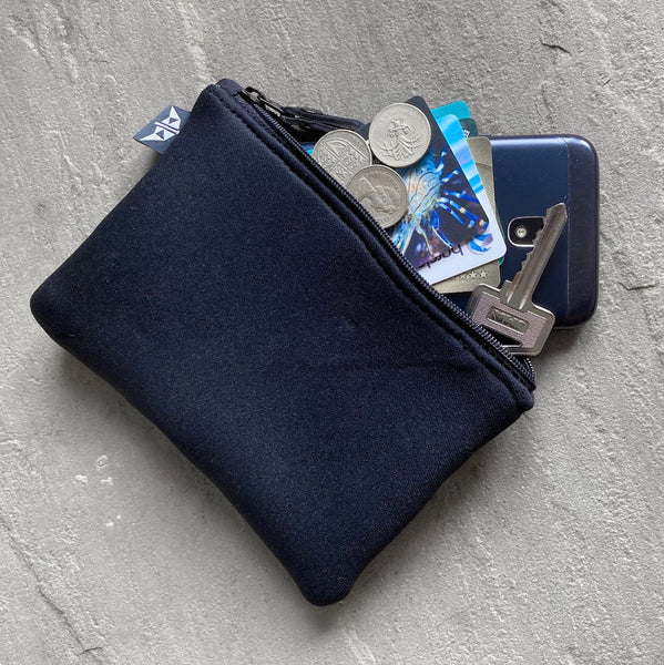 Earthbound Rectangle Neoprene Pouch in Grey with personal items