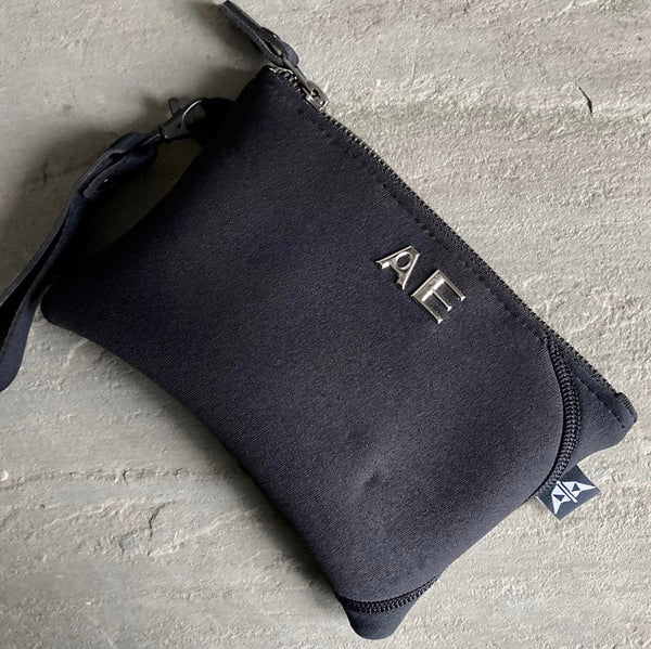 Earthbound Rectangle Neoprene Pouch in Black with personalisation