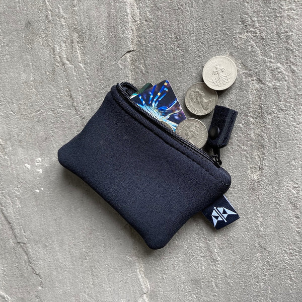 Grounded Neoprene Coin Pouch/Purse in Black  with card and coins