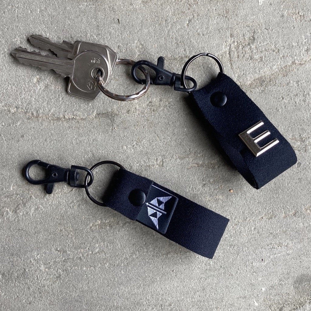 Neoprene keyring in black with optional personalisation