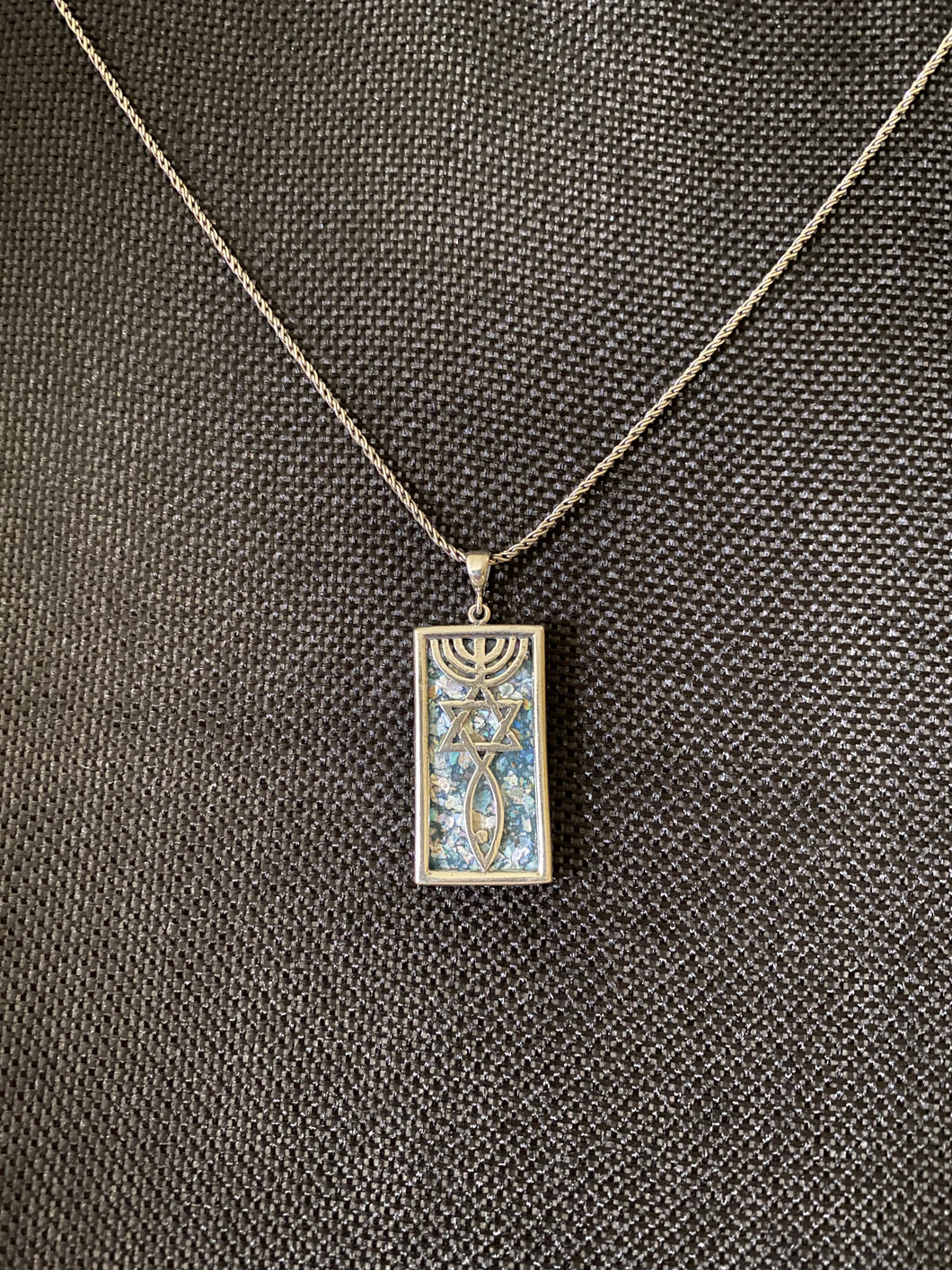Silver Roman Glass Necklace SRGN0029