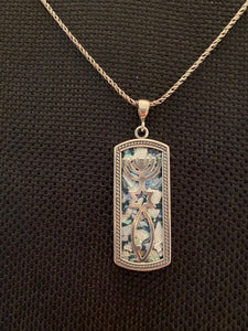 Silver Roman Glass Necklace SRGN0005