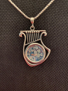 Silver Roman Glass Necklace SRGN0009
