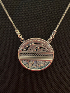 Silver Roman Glass Necklace SRGN0010
