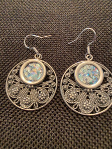 Silver Roman Glass Earrings SRGE0025