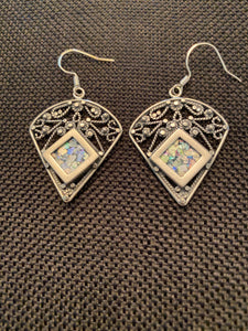 Silver Roman Glass Earrings SRGE0022