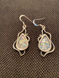 Silver Roman Glass Earrings SRGE0016