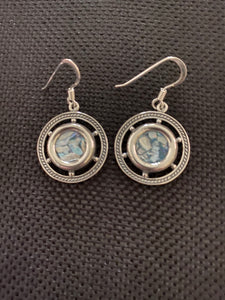 Silver Roman Glass Earrings SRGE0018