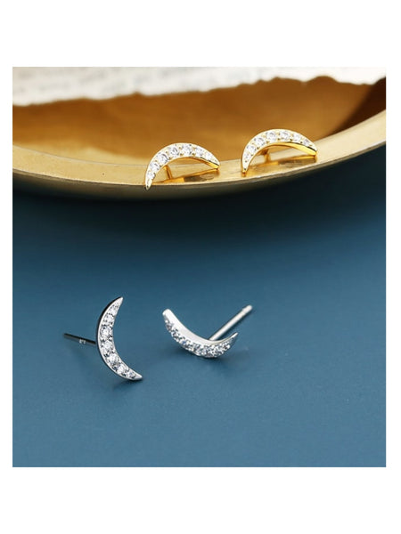 14K Gold Plated Brass Cubic Zirconia Crescent Moon Minimalist Stud Earring