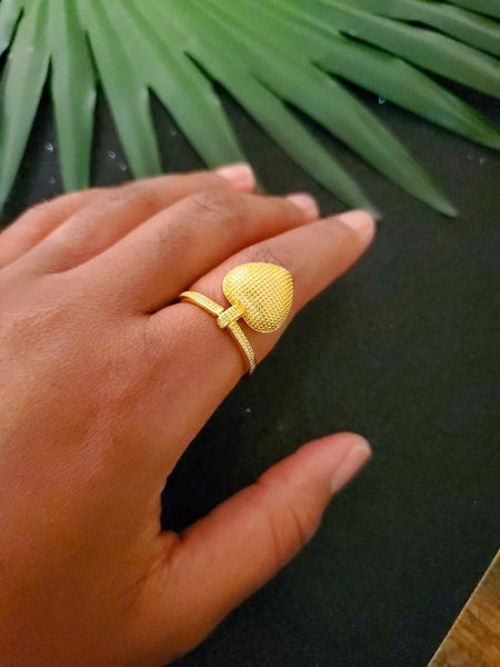 18K Gold Plated Brass Vintage Heart Ring