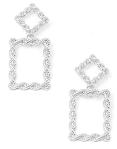 Rectangular Twisted Rope Drop Earrings (Silver) - I Am Lilou Bloom